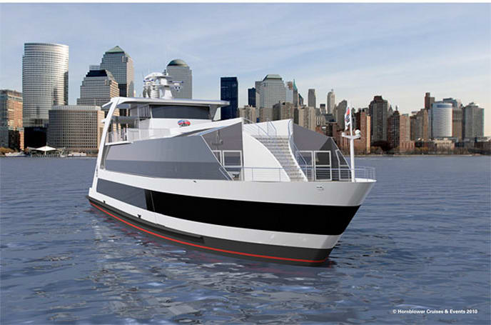 Hornblower Hybrid ferry relies on eco-friendly trifecta: hydrogen, solar and wind power