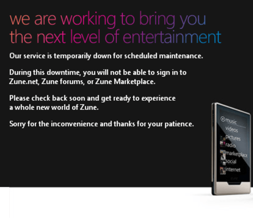 Zune portals close up shop for the day, should re-open with Zune HD launch