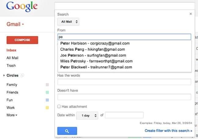 Gmail advanced search gets autocomplete in 'from' and 'to' fields, three lab features become standard