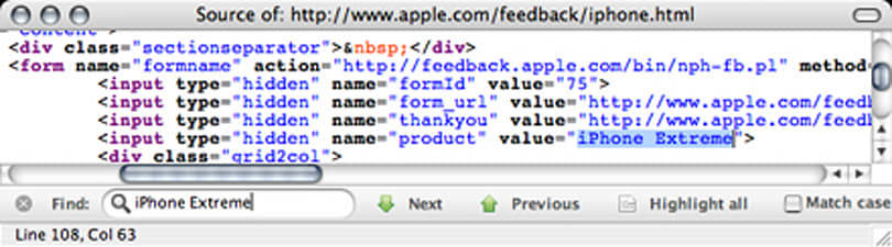 iPhone Extreme listed in Apple code -- say it ain't so