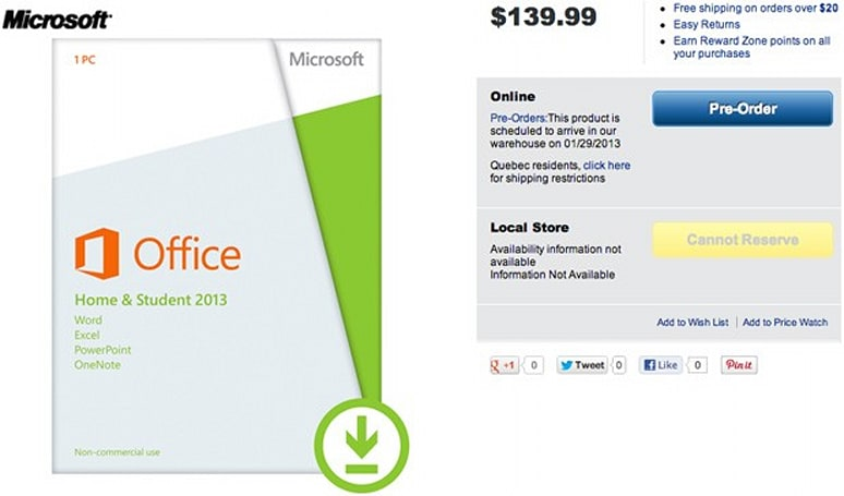 Office 2013, 365 listed as arriving January 29th at Canadian retailers