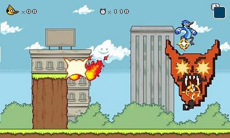 Mordecai and Rigby go 8-bit this month in Regular Show for 3DS