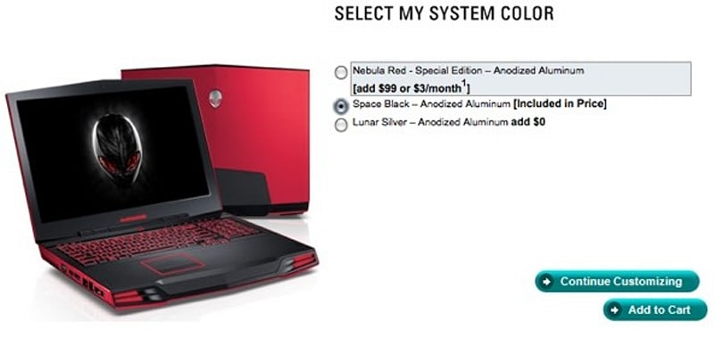 "Alienware M17x gaming laptop gets ""special edition"" Nebula Red color option"