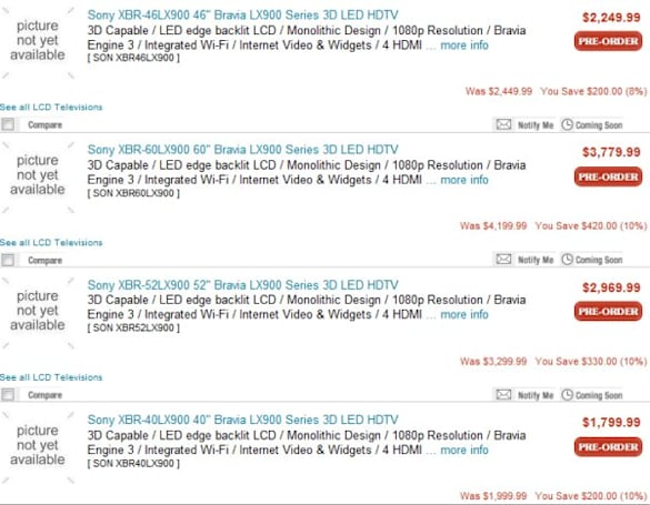 Pricing for Sony's 2010 3DTVs revealed at JR.com
