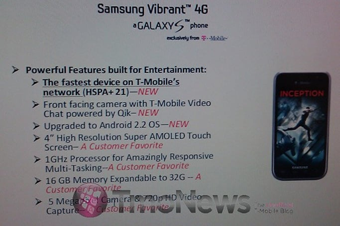 Samsung Vibrant 4G appears in leaked docs, touts 21Mbps HSPA+, front-facing camera