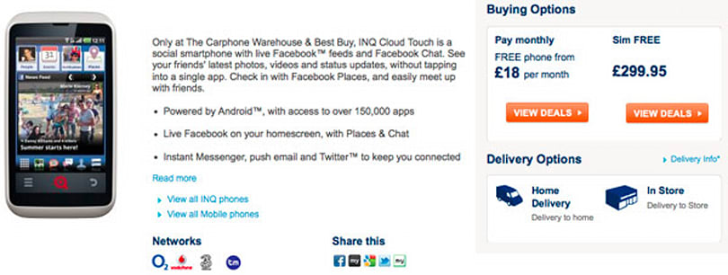 INQ Cloud Touch Facebook phone graces store shelves in UK, wallets smile