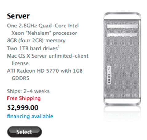 Mac Pro Server quietly introduced as Xserve heads for the grave, starts at $3,000