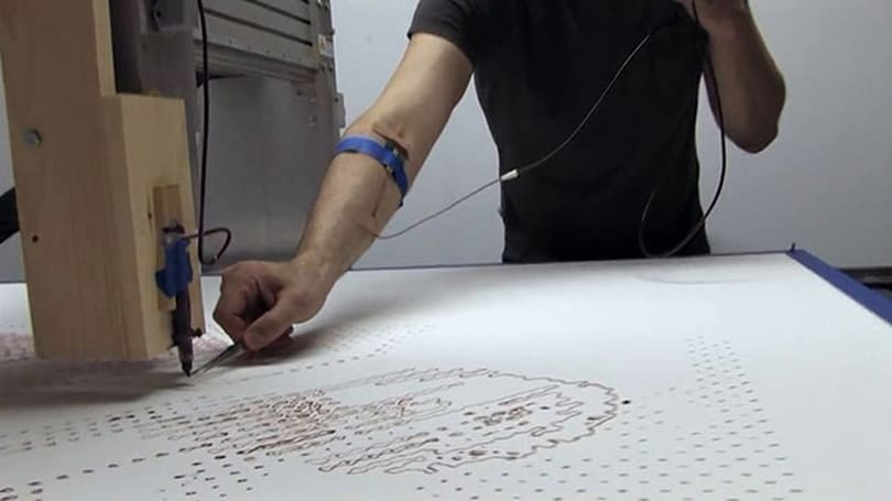 The best way to draw a self-portrait is with your blood and a CNC machine