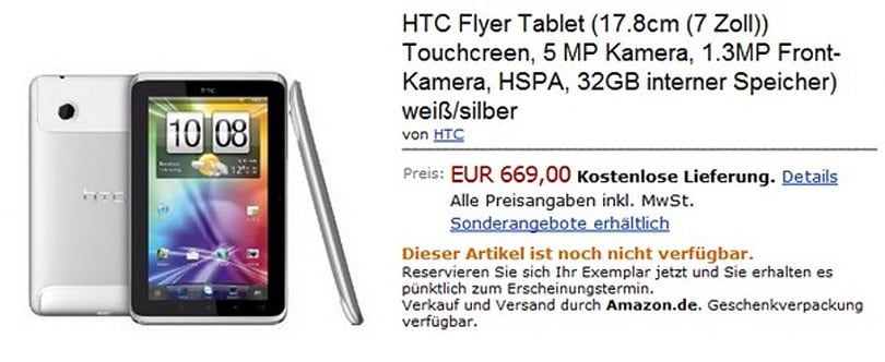 HTC Flyer tablet hits Amazon.de for 669 euros