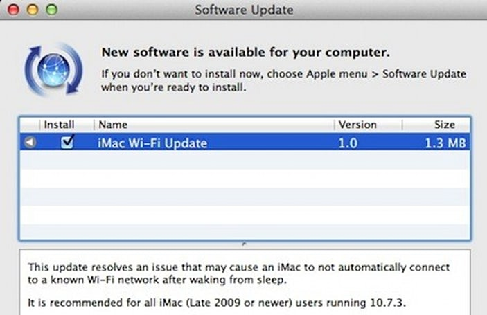iMac Wi-Fi Update 1.0 resolves wake from sleep issue