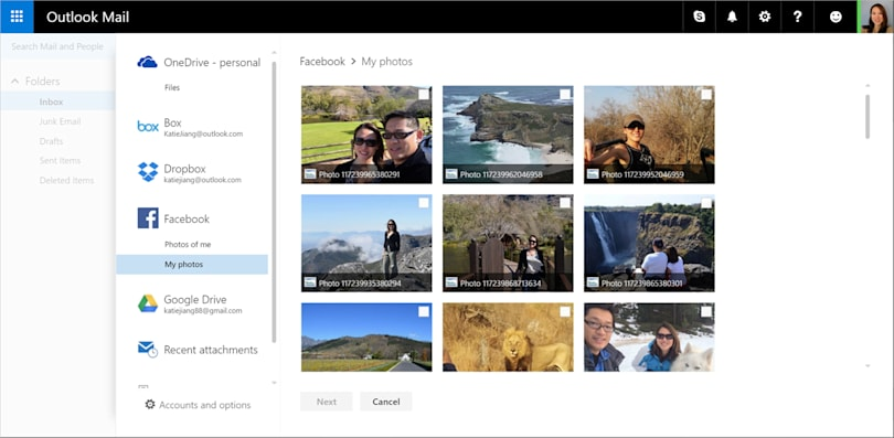Outlook on the web can import GDrive files and Facebook photos