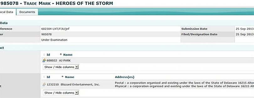 """Possible Blizzard trademark: """"Heroes of the Storm"""""""