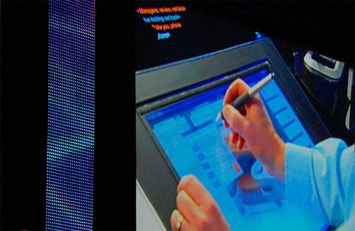 Wacom Cintiq 21UX multitouch tablet caught in the wilderness of a live presentation