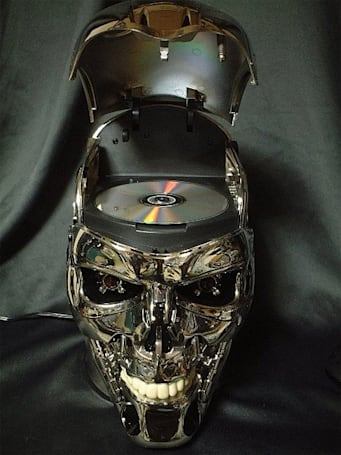 Terminator head DVD player returns from the future to stop itself from playing a DVD of 'The Terminator'