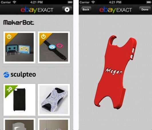 eBay releases Exact iOS app, a shopping portal for customized 3D-printed products