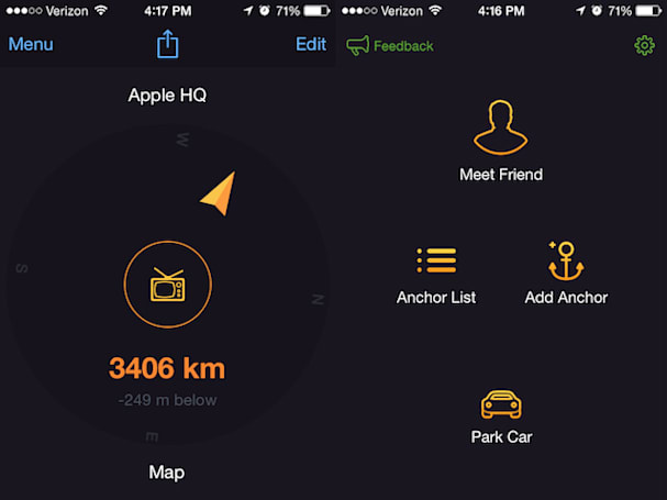 Anchor Pointer is a great app for finding your car or that great fishing spot