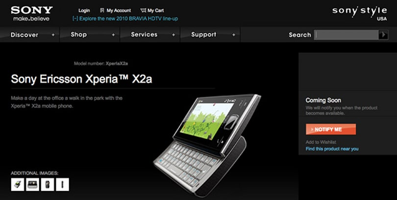 Sony Ericsson Xperia X2a appears on US site screaming 'I'm coming!'