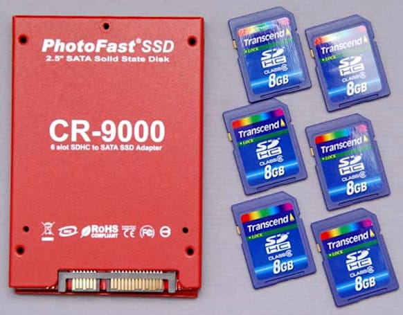 DIY SSD adapter takes 6 SDHC cards, the cake