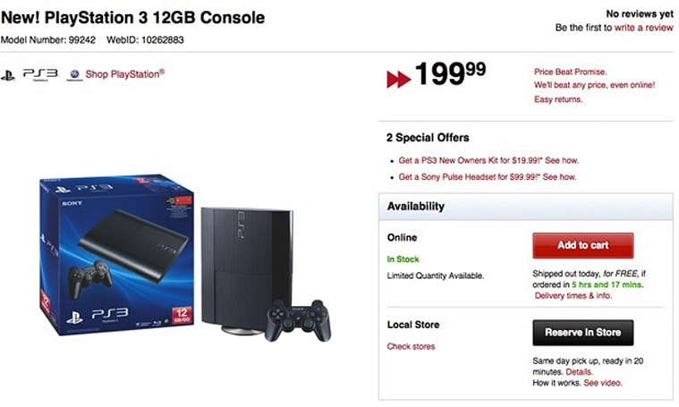12GB flash-based PlayStation 3 on sale in North America, despite Sony's prior claims