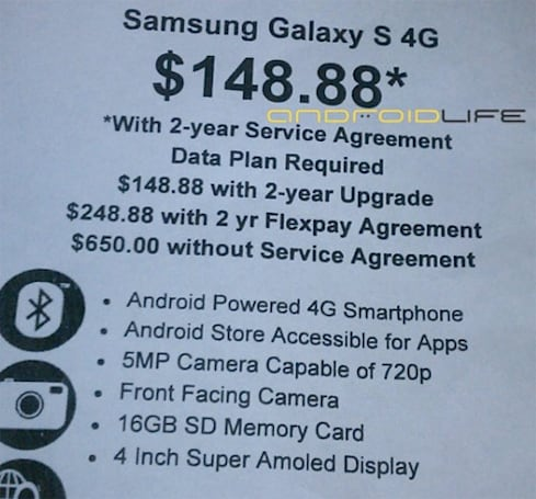 Samsung's Galaxy S 4G for T-Mobile going for $149 at Walmart