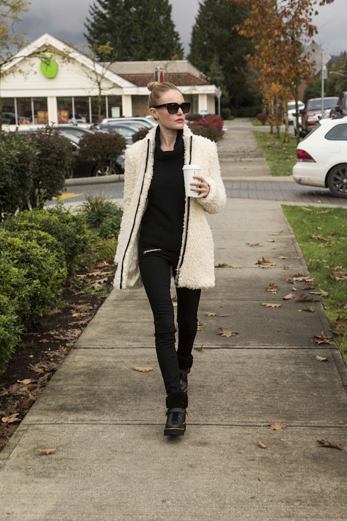 Get the look: Kate Bosworth's furry coat