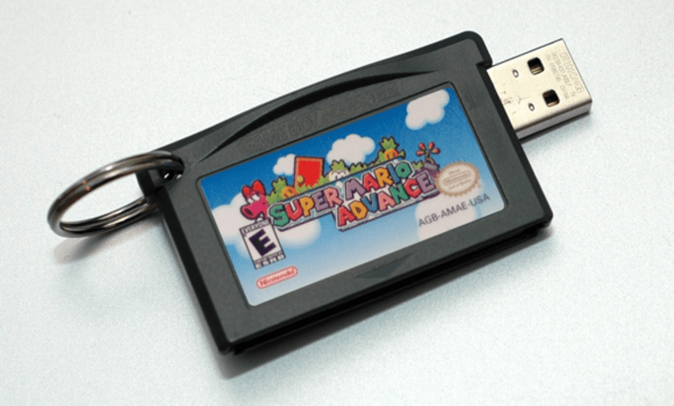 We heart these USB drives made from GBA carts