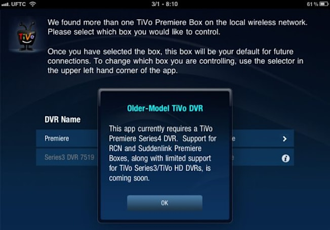 Older TiVo Series 3 / HD boxes will work with the iPad remote app soon