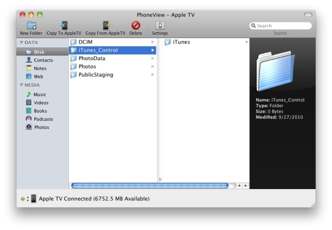Apple TV hacking update: PhoneView, ping, VNC support