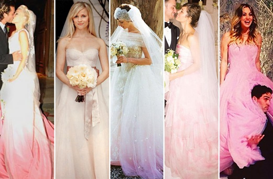 Dear celebrities, stop trying to make pink wedding gowns happen