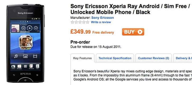 Sony Ericsson's Xperia ray up for UK pre-order, ships in August?