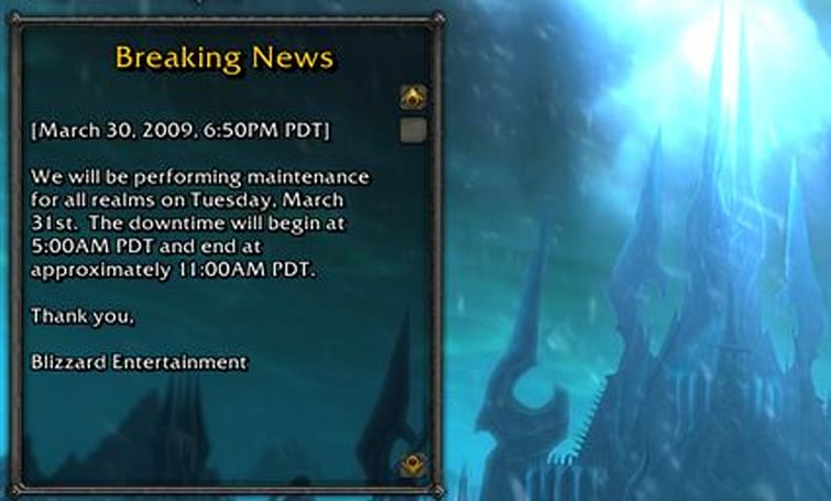 Realm maintenance for Tuesday March 31st