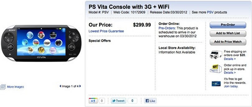 Sony's PlayStation Vita goes up for pre-order at Best Buy Canada