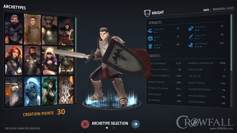 Crowfall's first screenshot shows the Knight's character creation