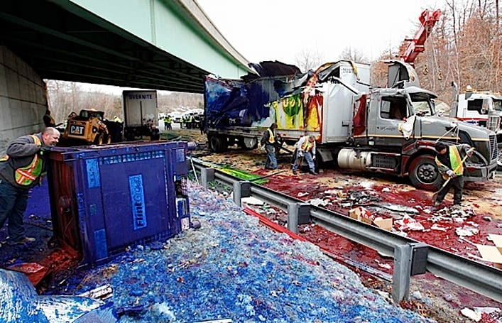 Visualized: Overturned ink-carrying tractor-trailer paints the town red... literally