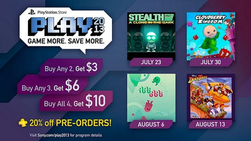 DuckTales, Stealth Inc. pre-order discounts on PSN, rebate on multiple purchases