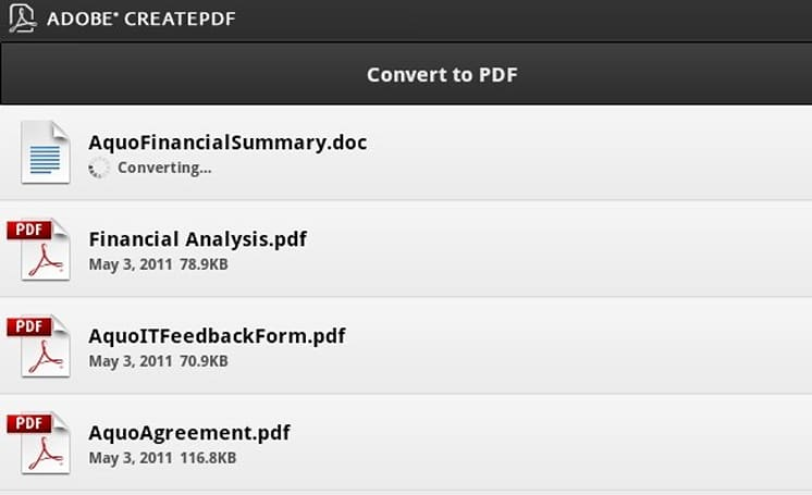 Adobe CreatePDF for Android does exactly what its name implies