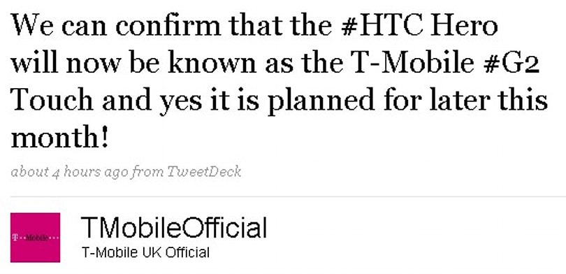 T-Mobile UK changes mind, dubs its Hero the G2 Touch