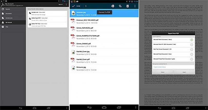 Adobe Reader update for Android adds costly PDF conversion features