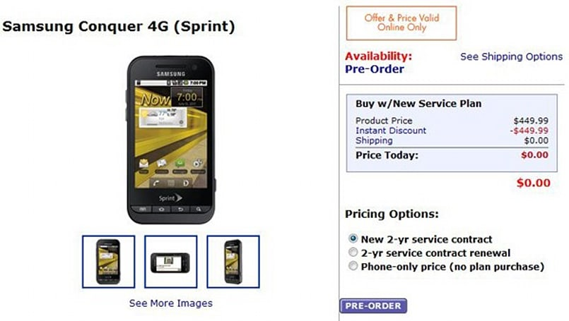 Samsung Conquer 4G pre-orders begin at Walmart, early adopters rewarded with a sale
