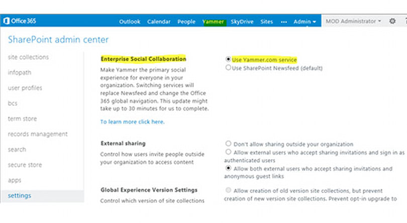 Microsoft letting users choose Yammer as default social network in Office 365