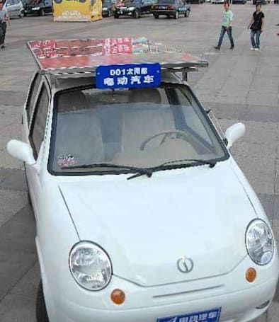 Chinese-made solar-powered car gets 150 kilometers on a 30-hour charge