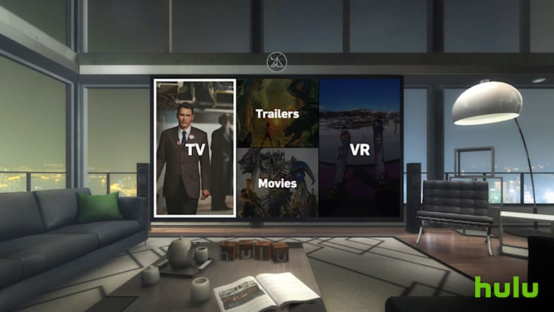 Hulu's Gear VR app puts you in a virtual viewing room