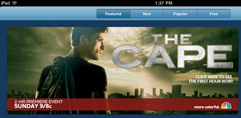 View NBC's The Cape premiere via iPad app (or not)