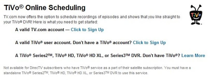 TV.com adds Record to TiVo scheduling