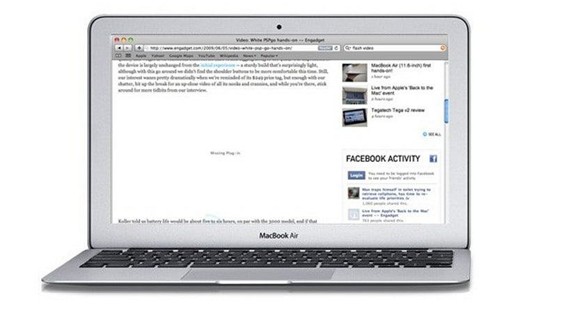 MacBook Air battery shown to last two hours longer when browsing the web sans Flash