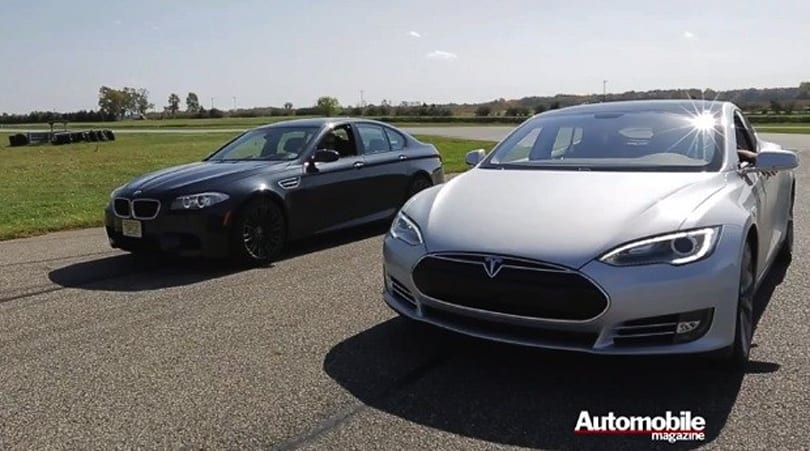 Tesla Model S squares off against BMW M5 in drag race, gives EVs extra street cred (video)