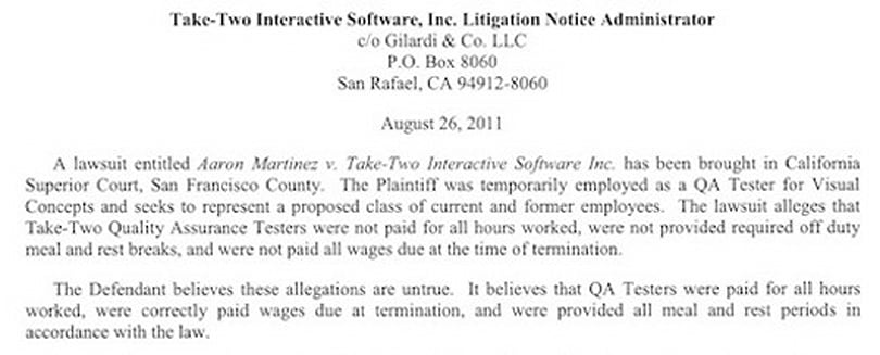 Former QA tester files litigation against Take-Two, seeks class-action suit
