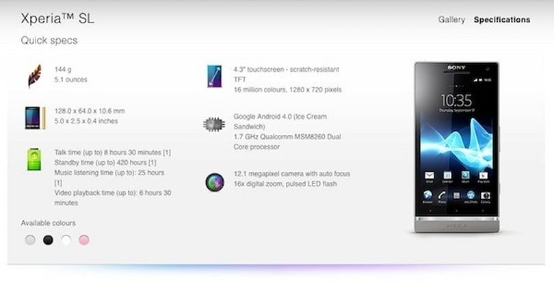 Sony quietly outs Xperia SL: dual-core 1.7GHz Snapdragon S3, four hues