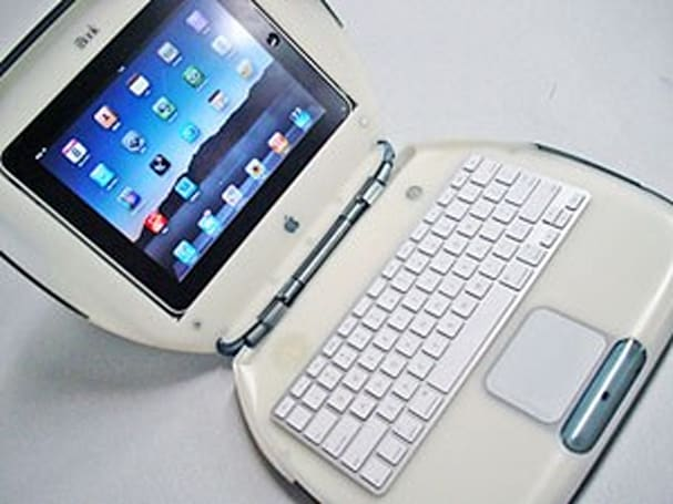 """iPad in iBook"" stand merges past and present"