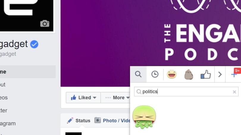 Facebook's sticker search has a queasy political reaction